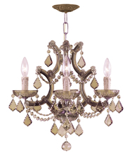 Crystorama 4474-AB-GT-MWP - Maria Theresa 4 Light Golden Teak Crystal Brass Mini Chandelier
