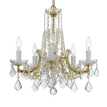 Crystorama 4576-GD-CL-MWP - Crystorama 5 Light Gold Mini Chandelier