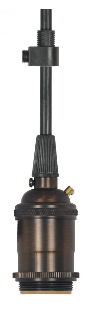 Medium base lampholder; 4pc. Solid brass; pre-wired; Keyless; 2 Uno rings; 10ft. 18/3 SVT Black Cord
