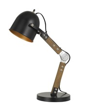 CAL Lighting BO-2757DK - 60W Binimi Adjust Able Wood/Metal Desk Lamp With Metal Shade