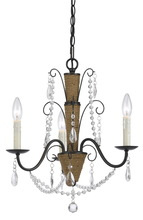 "CAL Lighting FX-3592-3 - 24.25"" Inch Tall Metal And Crystal Chandelier In Rattan And Crystal Finish"