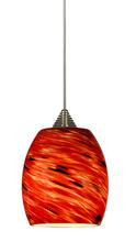 "CAL Lighting UPL-704/6-BS - 5.13"" Tall Glass And Metal LED Pendant With Rust Cord"