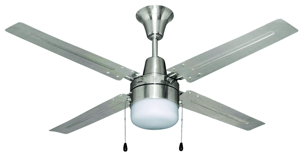 "Urbana 48"" Ceiling Fan with Blades and Light in Brushed Chrome"